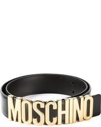 Черный кожаный пояс с украшением от Moschino