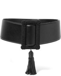 Черный кожаный пояс от Saint Laurent