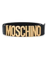 Мужской черный кожаный ремень от Moschino