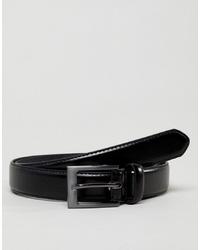 Мужской черный кожаный ремень от New Look