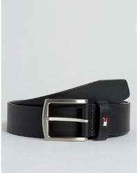 Мужской черный кожаный ремень от Tommy Hilfiger