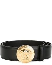 Мужской черный кожаный ремень от Versace