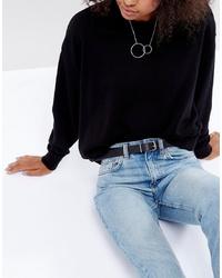 Женский черный кожаный ремень от Weekday