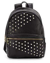 Черный кожаный рюкзак с шипами