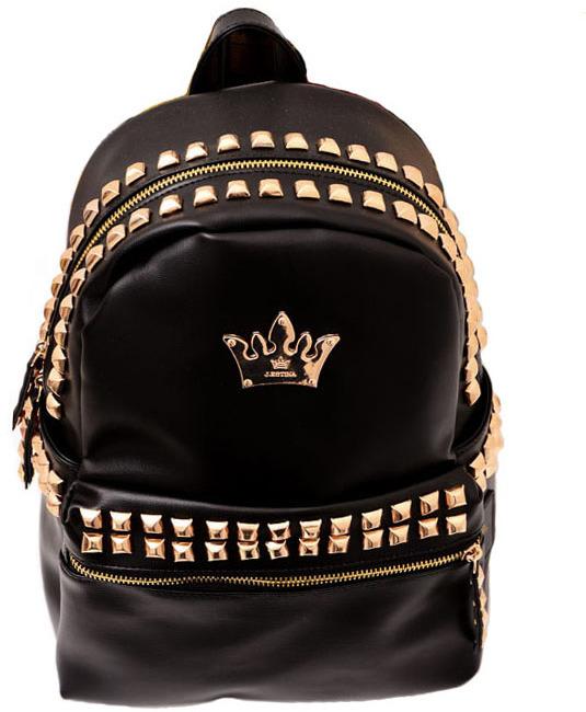 Черный кожаный рюкзак с шипами рюкзак ortovox