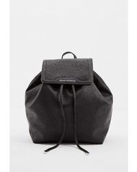 Женский черный кожаный рюкзак от Armani Exchange
