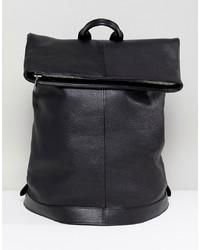 Мужской черный кожаный рюкзак от ASOS WHITE