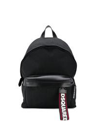Мужской черный кожаный рюкзак от DSQUARED2