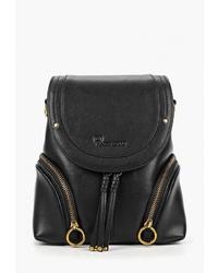 Женский черный кожаный рюкзак от Marco Bonne`