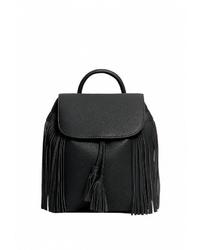 Женский черный кожаный рюкзак от Stradivarius