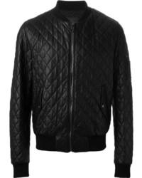 Мужской черный кожаный стеганый бомбер от Dolce & Gabbana