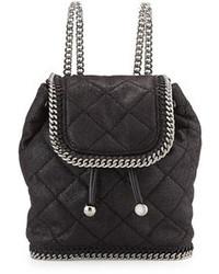 Черный кожаный стеганый рюкзак