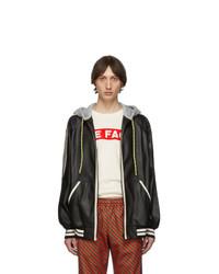 Мужской черный кожаный худи от Gucci