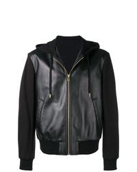 Мужской черный кожаный худи от Versace