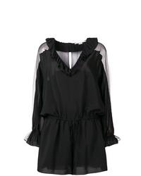Черный комбинезон с шортами с рюшами от Stella McCartney