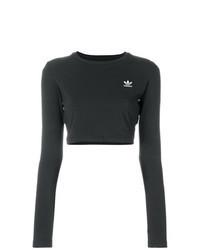 Черный короткий свитер с вышивкой