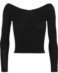 Женский черный короткий свитер
