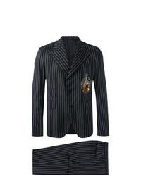 Черный костюм в вертикальную полоску от Dolce & Gabbana