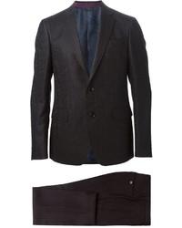 Черный костюм в вертикальную полоску от Etro