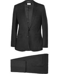 Черный костюм в вертикальную полоску от Saint Laurent