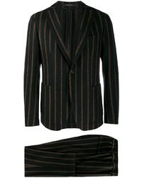 Черный костюм в вертикальную полоску от Tagliatore