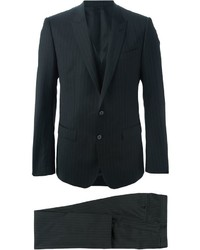 Черный костюм-тройка в вертикальную полоску от Dolce & Gabbana