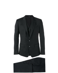 Мужской черный костюм-тройка в клетку от Dolce & Gabbana
