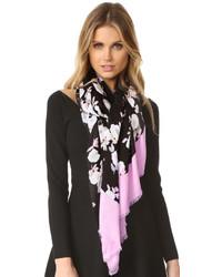 Женский черный легкий шарф с цветочным принтом от Kate Spade