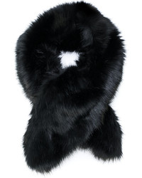 Женский черный меховой шарф от Armani Collezioni