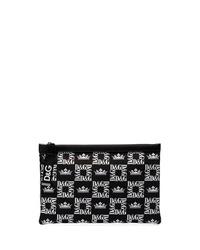 Мужской черный мужской клатч из плотной ткани с принтом от Dolce & Gabbana