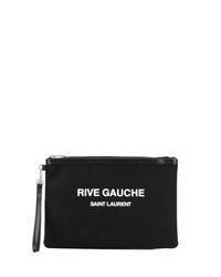 Мужской черный мужской клатч из плотной ткани с принтом от Saint Laurent