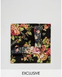 Мужской черный нагрудный платок с цветочным принтом от Reclaimed Vintage