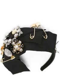 Черный ободок/повязка с украшением от Dolce & Gabbana