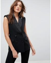 Женский черный пиджак без рукавов от Asos