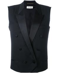 Черный пиджак без рукавов от Saint Laurent