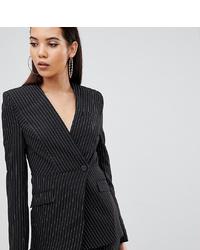 Женский черный пиджак в вертикальную полоску от Asos Tall