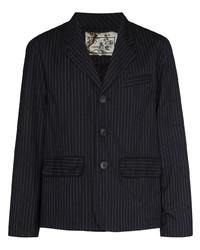 Мужской черный пиджак в вертикальную полоску от By Walid