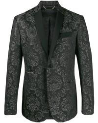 Черный пиджак из парчи с принтом
