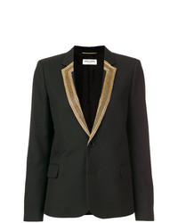 Женский черный пиджак с вышивкой от Saint Laurent