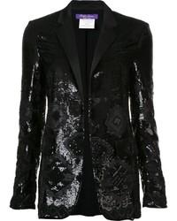 Женский черный пиджак с пайетками от Ralph Lauren