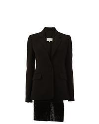 Черный пиджак c бахромой