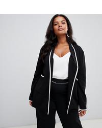 Женский черный пиджак от PrettyLittleThing Plus
