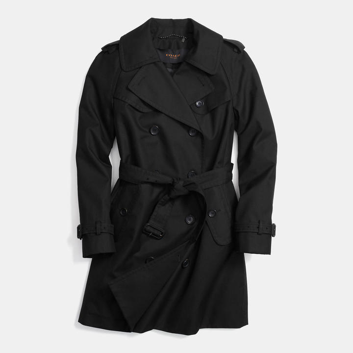 Женский черный плащ от Coach   Где купить и с чем носить 3381ba67384