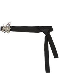 Женский черный ремень с украшением от Rochas