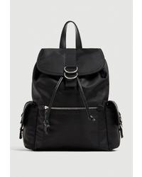 Женский черный рюкзак из плотной ткани от Pull&Bear