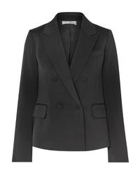 Женский черный сатиновый двубортный пиджак от Vince