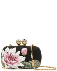 Женский черный сатиновый клатч от Alexander McQueen