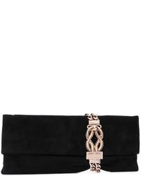 Женский черный сатиновый клатч от Jimmy Choo