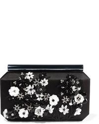 Женский черный сатиновый клатч от Oscar de la Renta