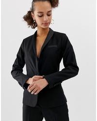 Женский черный сатиновый пиджак от New Look